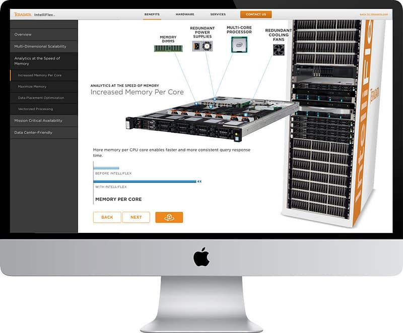 An image of a desktop computer monitor showing the Teradata website with the product demo.