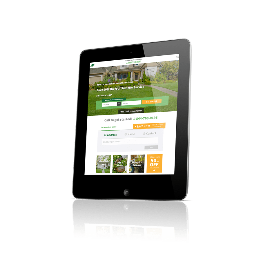 An image of a tablet device with the Trugreen website pulled up.