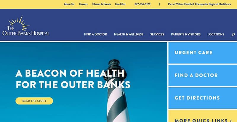 The Outer Banks Hospital's website redesign.
