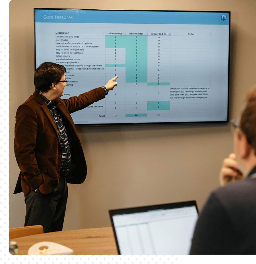 A man presenting a competitive analysis in a conference room.