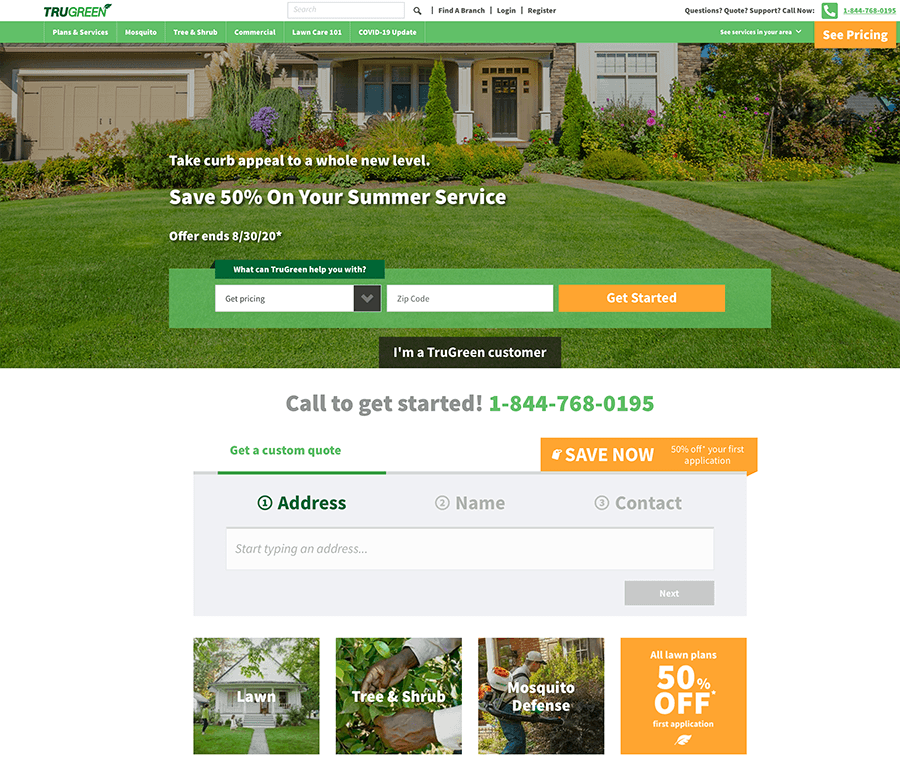 An image of the Trugreen homepage.