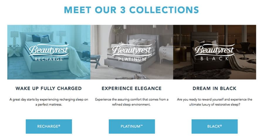 An image of a page on the Beautyrest website.