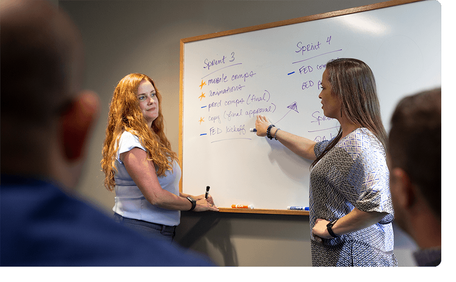 Two women work together on a whiteboard.