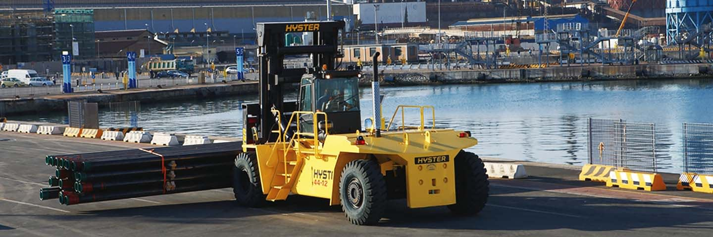 forklift by the water