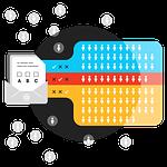 An illustration representing a customer segmentation survey that results in organized customer segments.