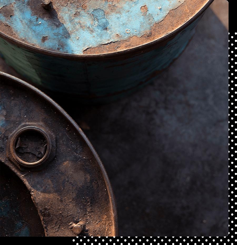 Abstract shot of rusting metal.