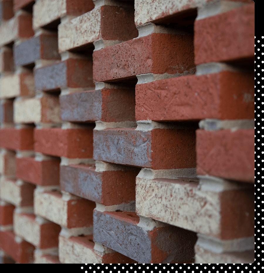 Multicolored brick wall.