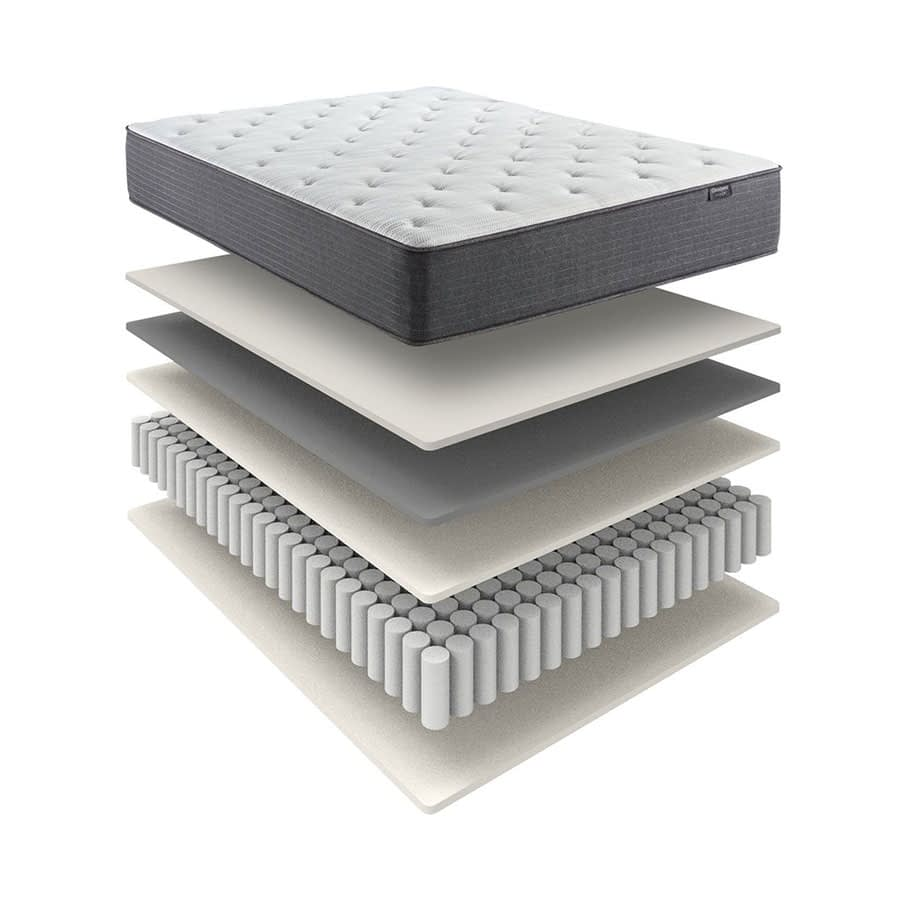 A digital illustration of a Beautyrest mattress. The materials that make up the mattress are separated into layers.