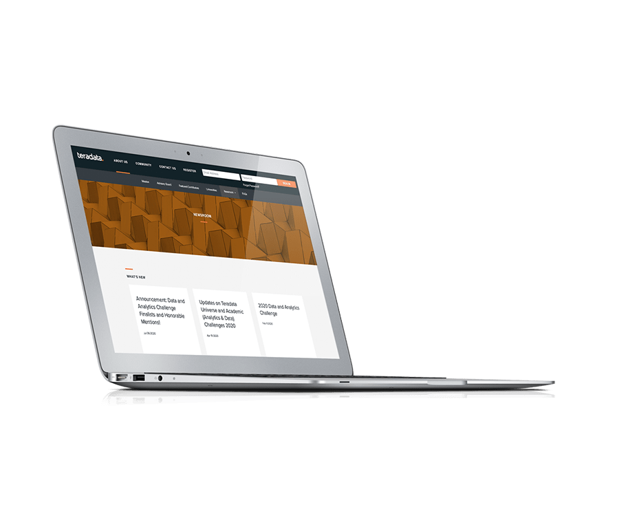 A rendering of a silver laptop with a website page on it.