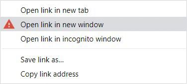 The Google Chrome context menu.