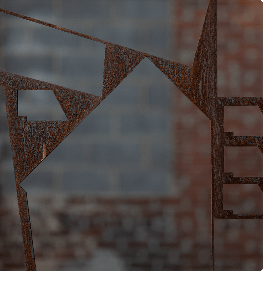 Abstract image of metal and brick.