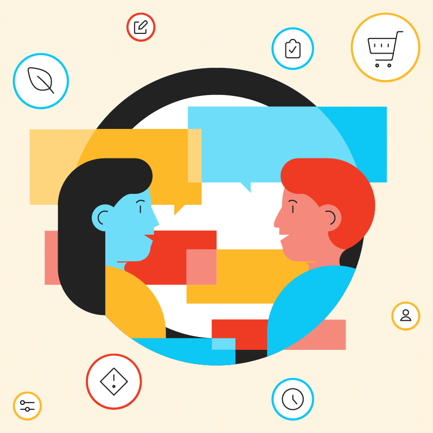 An illustration of stakeholder interviews and shared dialogue between two people.