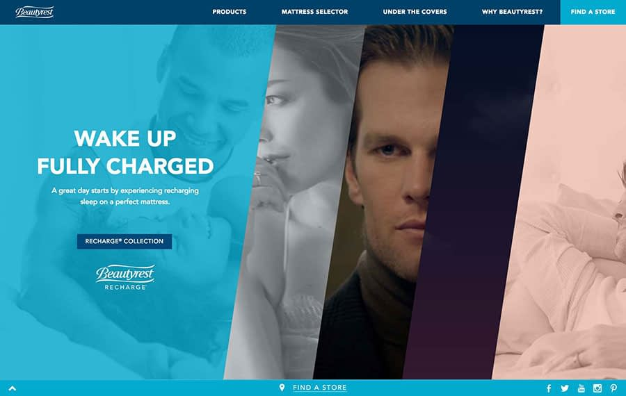 An image of the Beautyrest homepage.