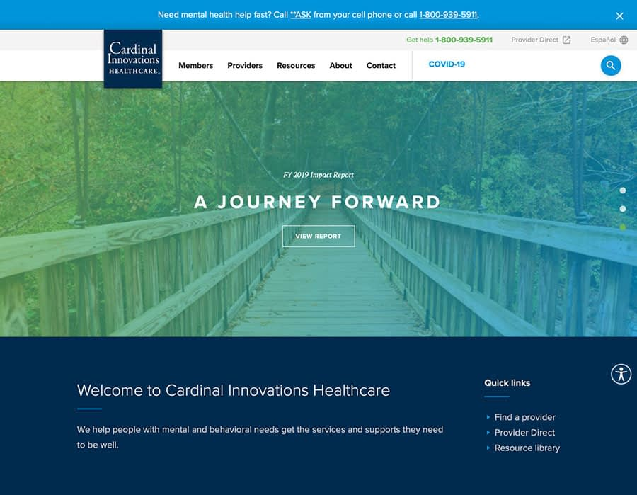 An image of the Cardinal Innovations home page