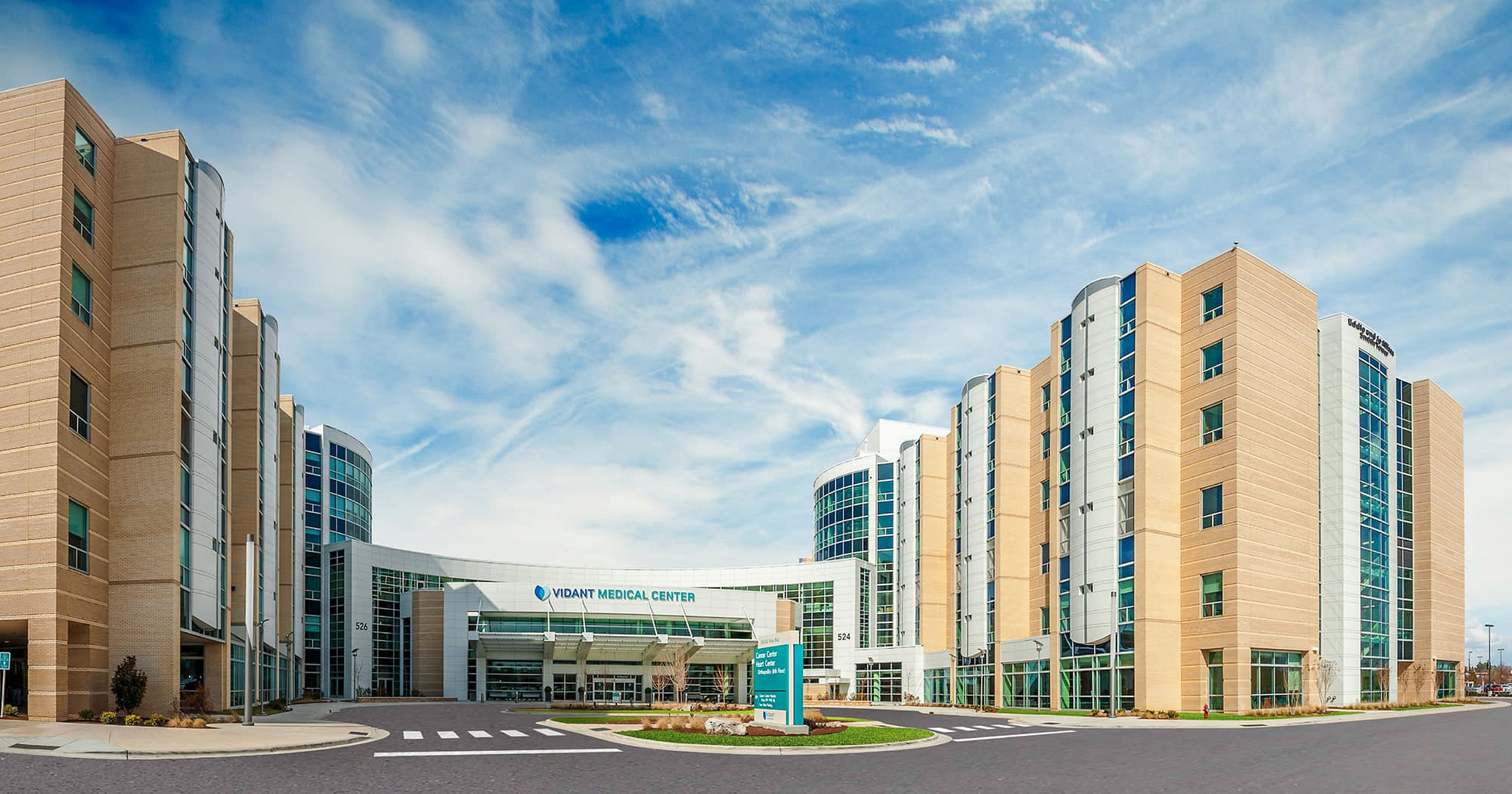 An image of the front drive of the Vidant Hospital in Greenville, North Carolina.