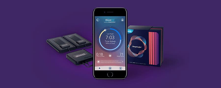 An image of a mobile phone with the Beautyrest sleep app pulled up.