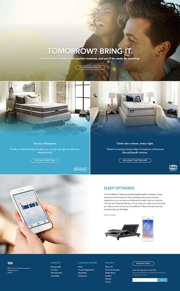 An image of a Beautyrest landing page on their website.
