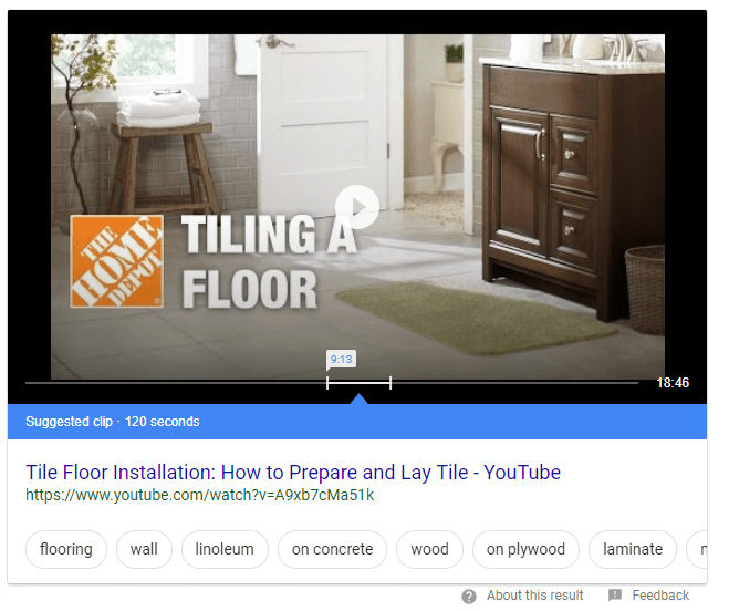 Featured content snippets using video schema.