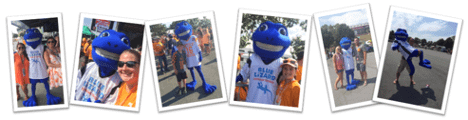A montage of 6 photos showing different football fans with the Blue Lizard mascot.